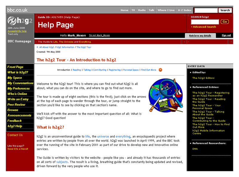 The h2g2 home page