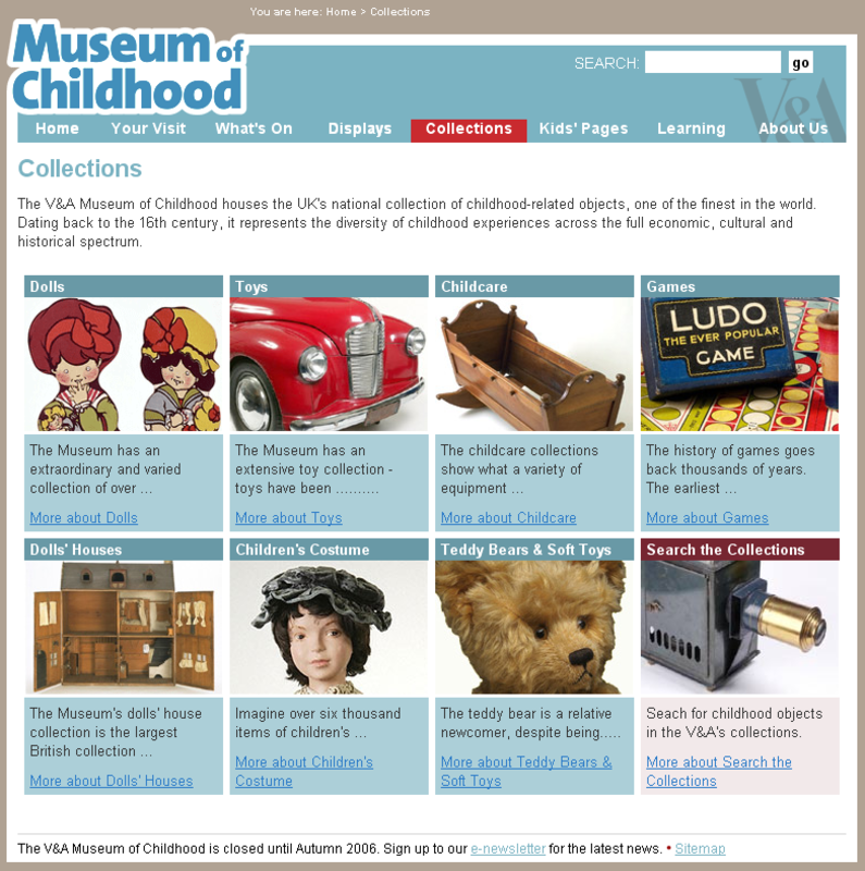 The Collections page from the Museum of Childhood site