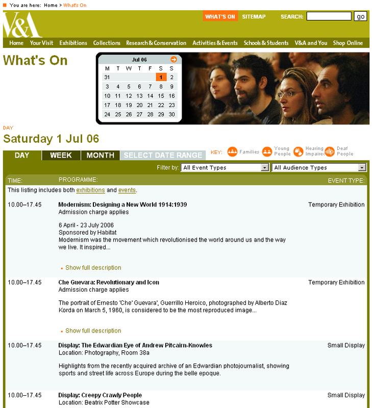 The V&A events calendar